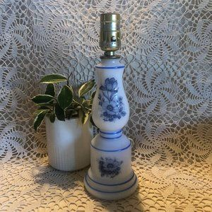 White Milk Glass Blue  Floral Lamp Vintage